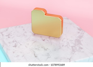Golden Folder Icon on Pink and Light Blue Color Background . 3D Illustration of Golden File, Directory, Documents Icon Set on White Marble.