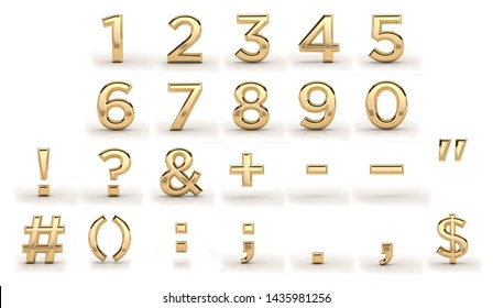 Golden font, all numbers and punctuation marks. 3d render, gold metal texture, on white background. dates, letters, characters. 1, 2, 3, 4, 5, 6, 7, 8, 9
