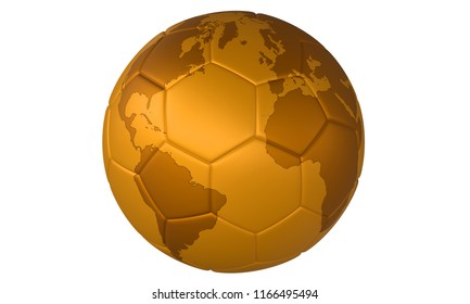 Golden football - 3D golden football (soccer ball) with map on white background. Focus on Europe, Africa, North America and South America