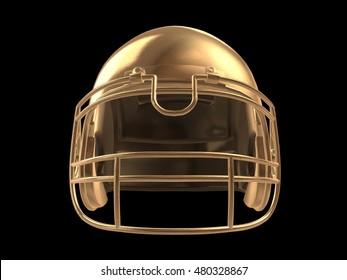 Golden football helmet isolated over black, 3d render