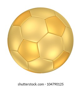 A golden football isolated on white background. Computer generated image with clipping path.