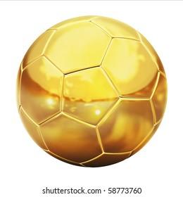 golden football (soccer ball) on the white background 3d illustration