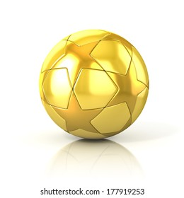 golden football - soccer ball with star pattern isolated on white