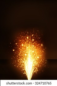 Golden Fountain - Firework Volcano Emitting Sparks. Vertical Greeting Card Template with Dark Brown Background - New Years Eve Celebration. Little Fireworks, Pyro, Glistening, Particle Effect.
