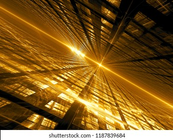 Golden fractal background with diagonal inlined surface, grid and glowing lines and curves like flashes. Technology or sci-fi concept. Abstract computer-generated 3d illustration.