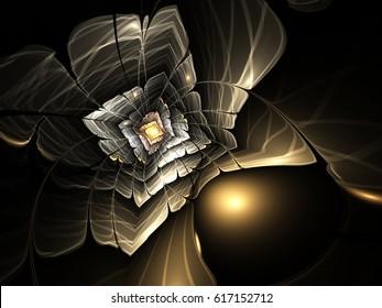 Golden fractal flower, digital artwork for creative graphic design