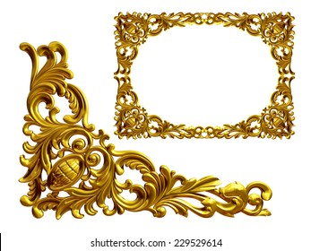 golden frame with baroque ornaments in gold.  mirror the Element to complete the frame
