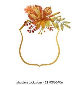 Golden Frame Emblem with Chestnut Leaf Vignette. Decorative Frame Design for Print, Card, Invitation, Logo, Mailer, Poster, Announcement, Advert, and other Decorative Printable.