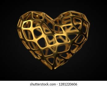 golden frame heart. suitable for love, emotions and valentine's day themes. 3d illustration