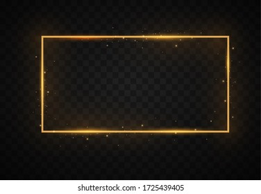 Golden frame with lights effects. Pack of luxury realistic square, round, oval borders. Shining rectangle banner. Isolated on a black transparent background.