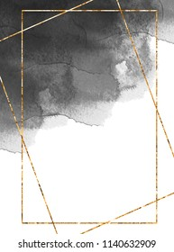 Golden frame on the dark grey watercolor background Card design Invitation decor Black watercolor texture Gold foil frame Polygonal frame