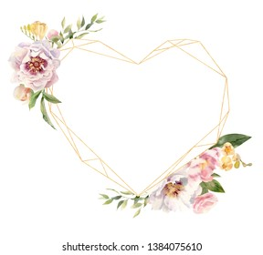 Golden frame template mockup with handpainted  watercolor blooming flowers of freesia and peonies. Heart shaped. Perfect for greeting cards, wedding invitations, posters, banners etc.