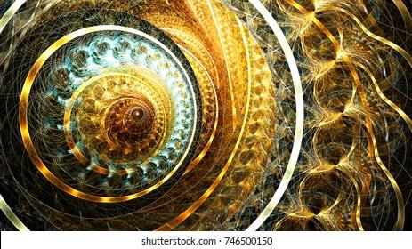 Golden futuristic clockwork illustration. Modern bright dynamic abstract digital background for wallpaper, interior, flyer cover, poster, banner, booklet. Fractal artwork for creative graphic design