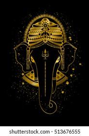 Golden Ganesha, or Ganapati, Indian god in the Hindu. Gold color splash. hand drawn illustration for design of prints, web, festive, Chaturthi invitations.