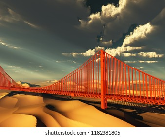 Golden Gate Bridge in desolate future. 3D rendering