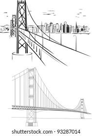 Golden Gate bridge - hand drawing illustrations