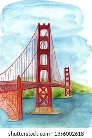 Golden Gate Bridge hand drawn watercolor with landscape.
