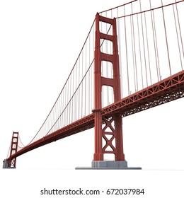 Golden Gate Bridge on white. 3D illustration
