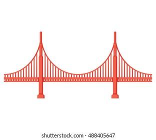 Golden Gate Bridge side view. San Francisco symbol isolated illustration.