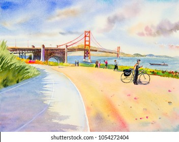 Golden gate bridge - sightseeing in San Francisco, USA. Family tourists tour enjoying the view at the famous travel landmark in California. watercolor painting landscape illustration,in summer holiday