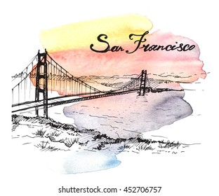 Golden Gate, San Francisco. Hand drawn sketch on colorful watercolor background.