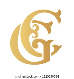 Golden GC monogram isolated in white.