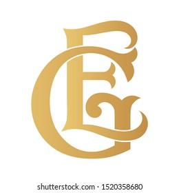 Golden GE monogram isolated in white.