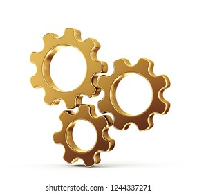 golden gears isolated on a white background. 3d illustration