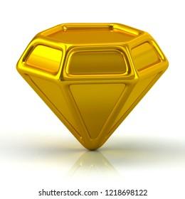 Golden gem icon 3d illustration on white background