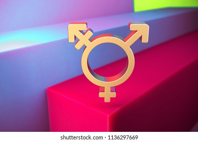 Golden Gender Transgender Alt Double Icon on the Violet and Grass Green Geometric Background. 3D Illustration of Gold Creative, Gender, Genderqueer Icon Set With Installation of Color Boxes.