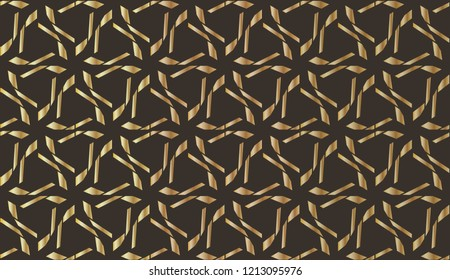 and golden Geometric ornament for wedding invitation, envelope, greeting or business cards, Template for paper cut, printing, engraving wood, metal.