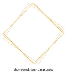 Golden geometrical crystal diamond frame of quadrangle tetragon shape