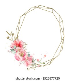 Golden geometry oval frame decorated with watercolor flowers and leaves. Wedding decorations. Vintage.