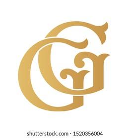 Golden GG monogram isolated in white.