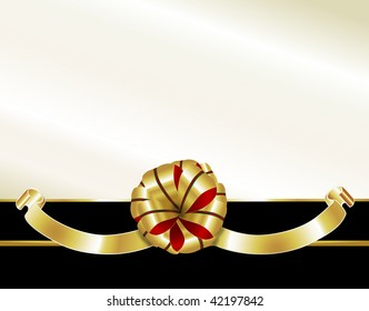 Golden gift bow accented with red & green decorates this formal background. Ideal for corporate, business or black tie galas.