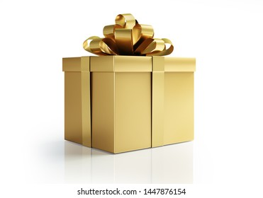 Golden gift box with golden bow - 3D illustration