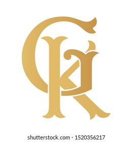 Golden GK monogram isolated in white.