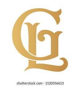 Golden GL monogram isolated in white.