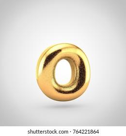 Golden glitering letter O lowercase. 3D render of glitter font isolated on white background.