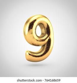 Golden glitering number 9. 3D render of glitter font isolated on white background.