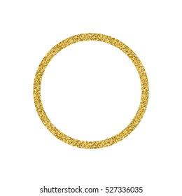 Golden glitter circle shape frame isolated on white background