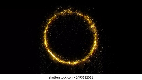 Golden glitter circle with sparkling light shine. Gold glittering ring, magic shimmer glow, bright light sparks with bokeh effect