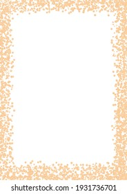 Golden glitter confetti rectangular border. Premade art composition. Abstract creative texture empty card frame. Paper a4 template with copy space. Glamour metallic blank.