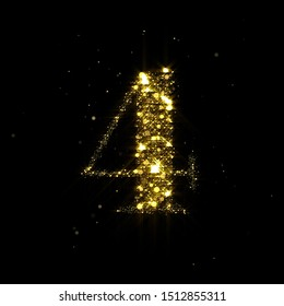 Golden glitter number 4, sparkling gold light and glowing gold particles shine font. Number four of shimmering sequins and glow sparkles on luxury black background