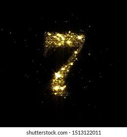 Golden glitter number 7, sparkling gold light and glowing gold particles shine font. Number seven of shimmering sequins and glow sparkles on luxury black background