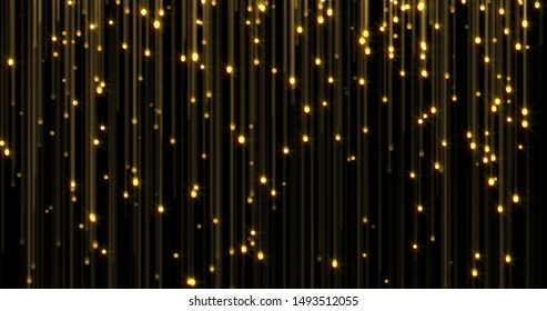 Golden glitter rain, bright light shine on gold threads. Glowing glittering lights curtain, shiny sparkling light and shimmer particles