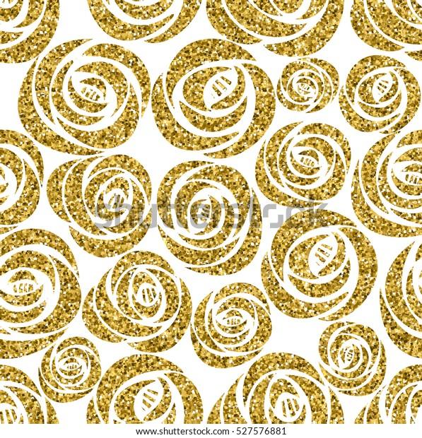 Golden Glitter Texture Hand Draw Black Stock Illustration