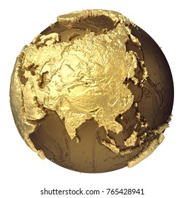 Golden globe model without water. Asia. 3d rendering isolated on white background. Elements of this image furnished by NASA