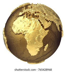 Golden globe model without water. Africa. 3d rendering isolated on white background. Elements of this image furnished by NASA