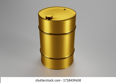 Golden glossy oil barrel, 3D rendering, abstract business background